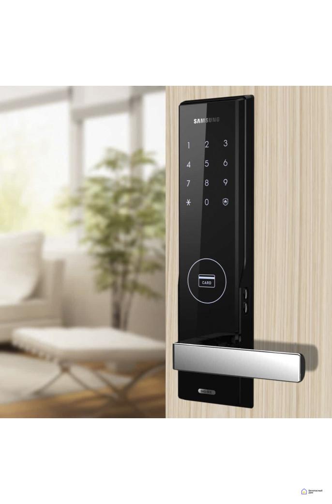 Врезной электронный дверной замок Samsung SHS-H505/5050 Black, фото 2