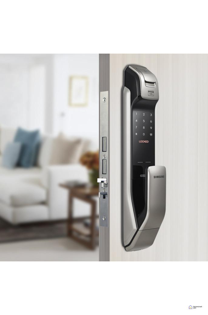 Врезной электронный дверной замок Samsung SHP-DP728 Dark Silver с отпечатком пальца, фото 3