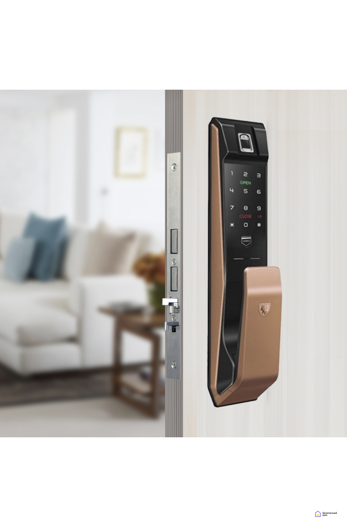 Врезной электронный дверной замок LocPro K500B4GF Series Digital Door Lock с отпечатком пальца, фото 2