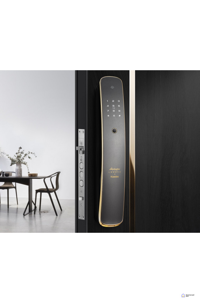 Биометрический дверной замок Kaadas Х Lamborghini gold, фото 2