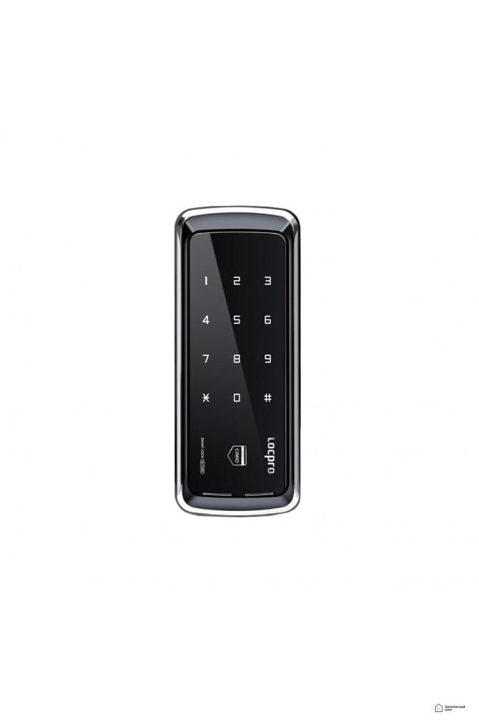 Накладной электронный дверной замок LocPro GL725B2 Series Black без монтажных пластин (для стеклянных дверей), фото 1