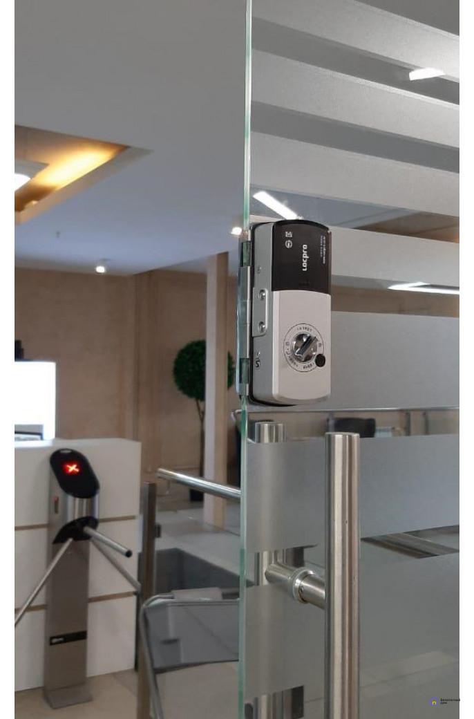 Накладной электронный дверной замок LocPro GL725B2 Series Black без монтажных пластин (для стеклянных дверей), фото 6