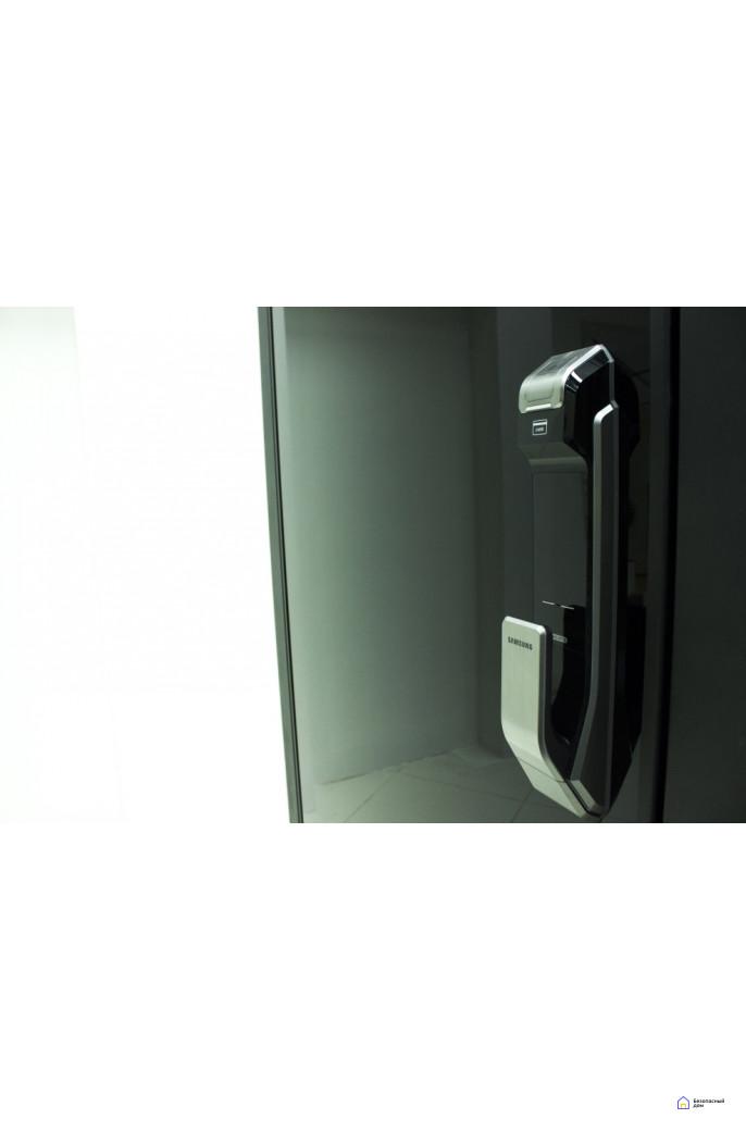 Врезной электронный дверной замок Samsung SHS-P718 Chrome с отпечатком пальца (открытие наружу), фото 10