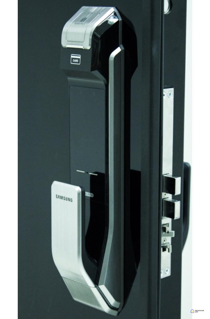 Врезной электронный дверной замок Samsung SHS-P718 Chrome с отпечатком пальца (открытие наружу), фото 8