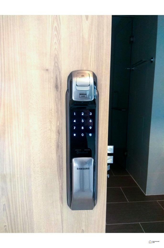 Врезной электронный дверной замок Samsung SHP-DP728 Dark Silver с отпечатком пальца, фото 8