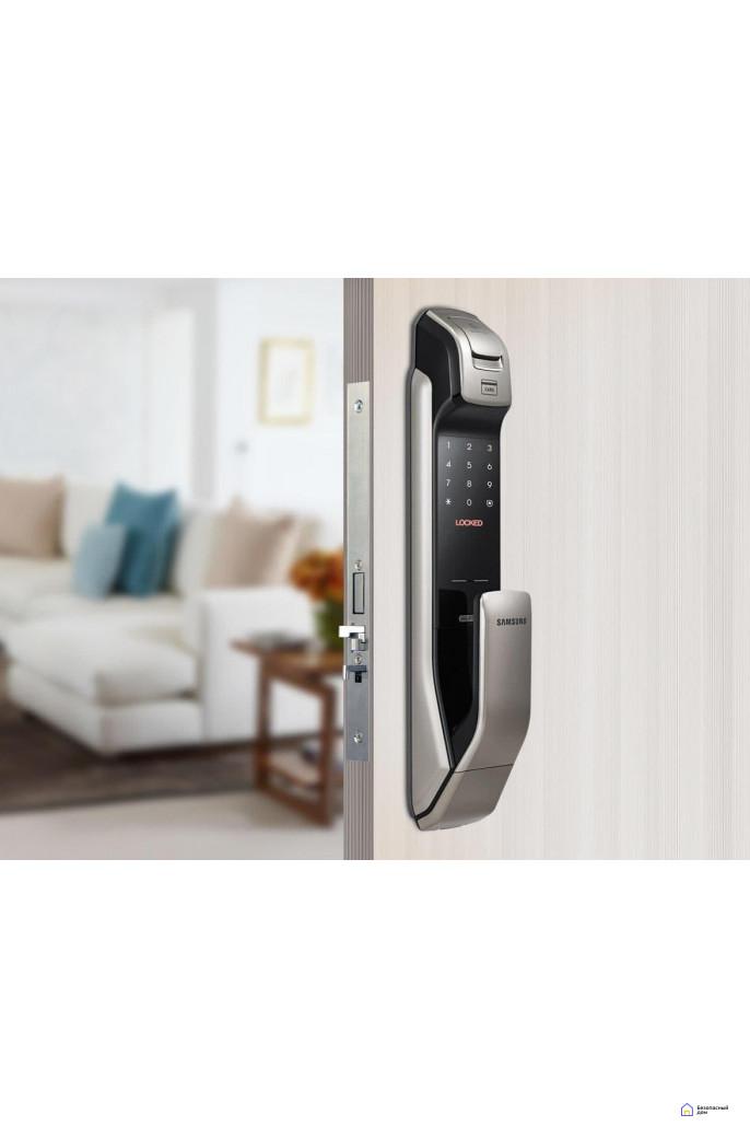 Врезной электронный дверной замок Samsung SHP-DP728 Dark Silver с отпечатком пальца, фото 2