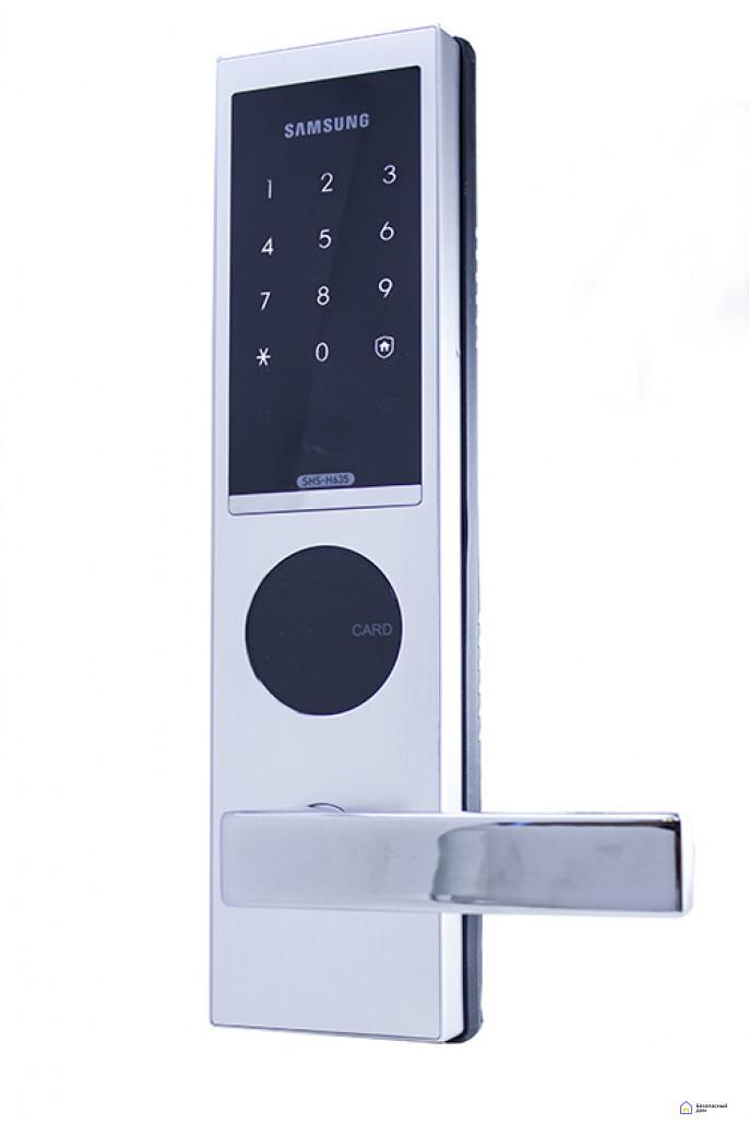 Врезной электронный дверной замок Samsung SHS-H635/6020 Silver, фото 1