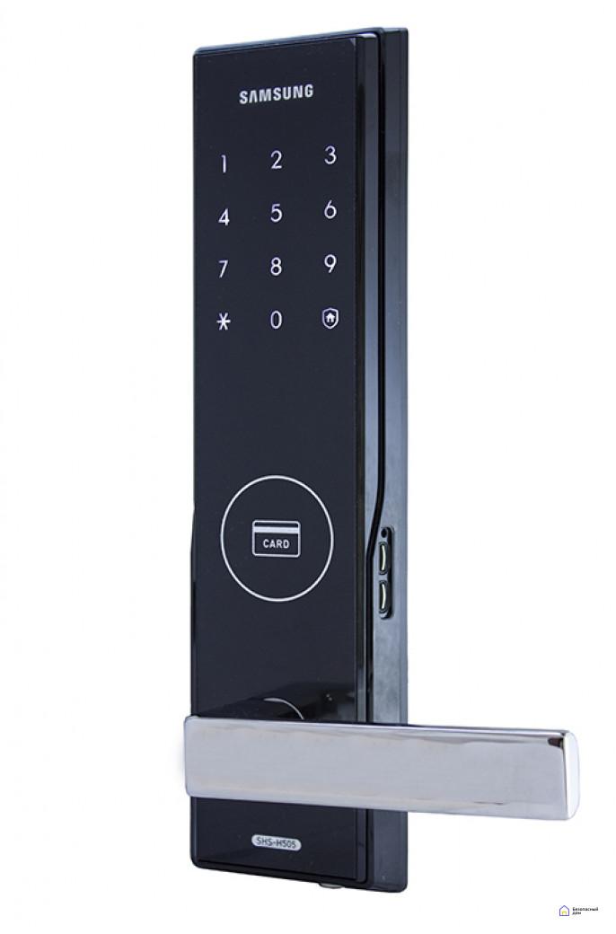 Врезной электронный дверной замок Samsung SHS-H505/5050 Black, фото 1