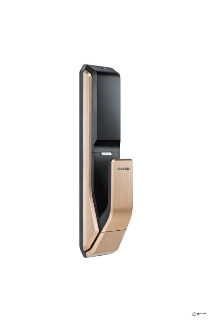 Врезной электронный дверной замок Samsung SHS-P718 Gold с отпечатком пальца (открытие наружу), фото 4
