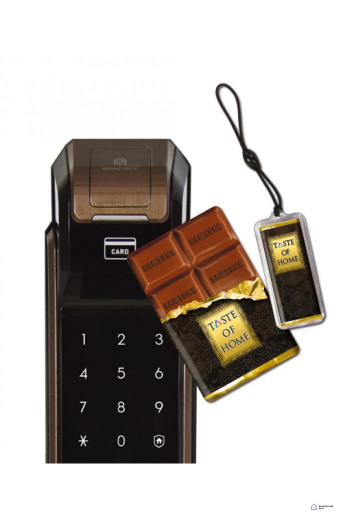 Врезной электронный дверной замок Samsung SHS-P718 Brown с отпечатком пальца (открытие наружу), фото 4