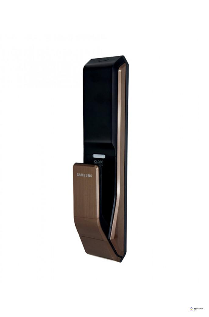 Врезной электронный дверной замок Samsung SHS-P718 Brown с отпечатком пальца (открытие наружу), фото 6