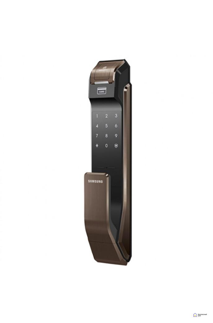 Врезной электронный дверной замок Samsung SHS-P718 Brown с отпечатком пальца (открытие наружу), фото 1