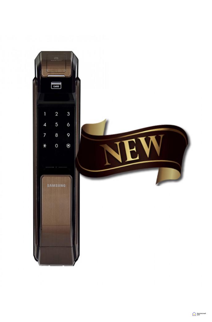 Врезной электронный дверной замок Samsung SHS-P718 Brown с отпечатком пальца (открытие наружу), фото 3